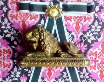 Vintage Gilded Plaster Lion on a Pedestal, Lion Bookend
