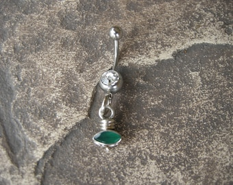 Barbell Belly Rings / Belly Button Jewelry in Sterling Silver and Emerald Green Onyx - Handcrafted Artisan Belly Jewelry May Birthstone
