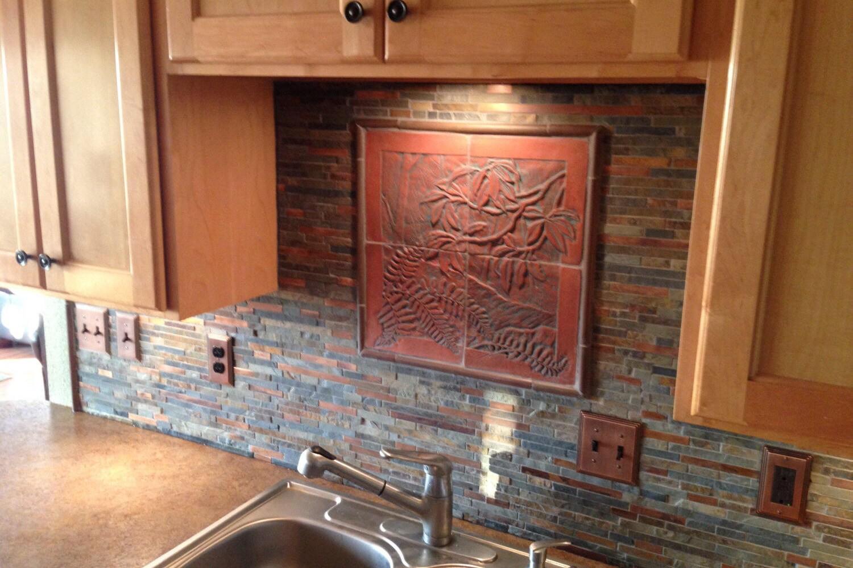 Craftsman style carved tile woodland scene for backsplash zoom dailygadgetfo Choice Image