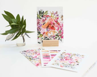 Prints with Wood Stand in Blush (set of 4)