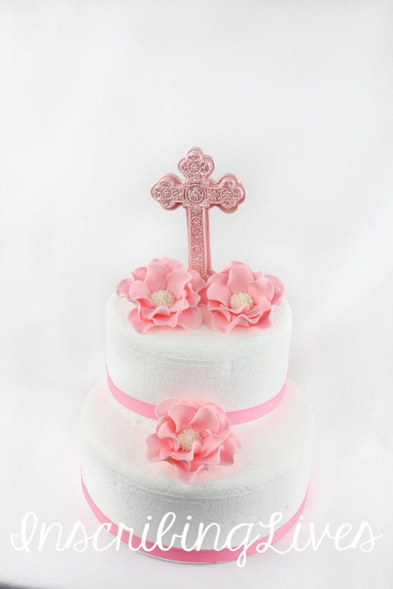 Flowers And Cross Cake Topper 4pcs Christening Cake Topper