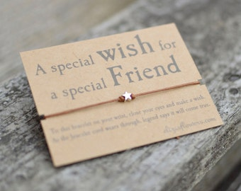 Special Friend Wish Bracelet, Make a Wish Bracelet, Friendship Bracelet, Gift for Friend, Cord Bracelet and Gift Card.