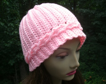 Pink Cable Hand Crochet Hat Adult Beanie