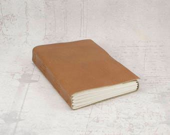 Brown leather journal sketchbook, unique notebook A6 travel journal