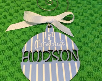 Holidays  Christmas  Ornament  Christmas Ornament  Wooden  Wood  Personalized  Baby boy 1st christmas  Laser Cut  Monogram