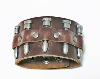 Leather Bracelet, Leather Cuff Bracelet, Leather Jewelry, Bullet Bracelet, Men Leather Cuff, Women Leather Cuff, Men Bracelet