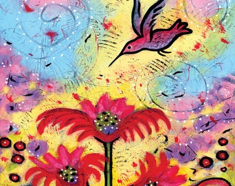 Hummingbird Print. Whimsical Bird Art. Hummingbird Art. Bird Art for Nursery. Bird Canvas Print. Hummingbird Gift. Bird Whimsical Wall Art.