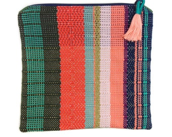 Penny | Woven Bag | Women's Fold Over Clutch | Striped Boho Purse w Tassel | Colorblock Handwoven Evening Bag | Modern Coral Foldover Clutch