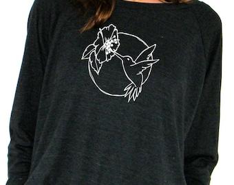 Womens Long Sleeve Sweatshirt -  Hummingbird Design - American Apparel Raglan Pullover - Small, Medium, Large