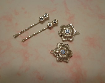 New Old Stock Vintage Silver Tone Barrettes and Bobby Pins w/ Blue Rhinestones, 4 Pc