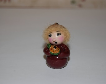 Fairy Garden Decoration Polymer Clay Acorn Elf or Gnome with Miniature Turtle