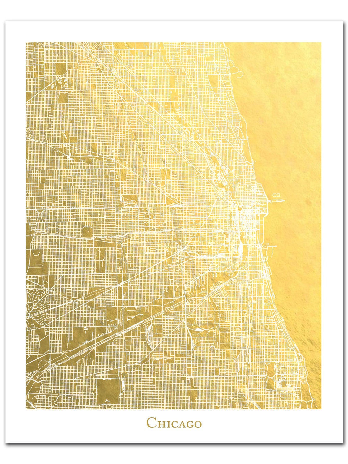 Chicago Map Chicago Print Gold Foil Print Gold Foil Map™