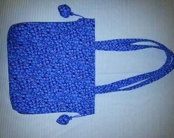 Blueberry Shoulder Purse, Cotton, Medium
