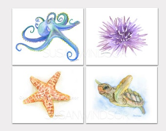 Ocean Animal Watercolor Art Prints Set of 4 Octopus Sea Turtle Sea Star and Urchin LANDSCAPE - horizontal Orientation