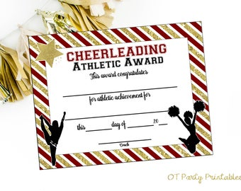 Cheer certificate etsy instant download cheerleading certificate cheerleading award cheerleading printable cheerleading achievement end yelopaper Gallery