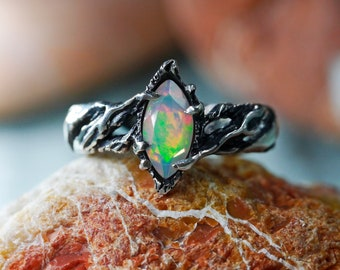 """Ethiopian Fire Opal Ring """"Vivienne"""" MADE TO ORDER, fire opal engagement ring, Sterling Silver ring, welo opal, marquise opal, twig ring"""