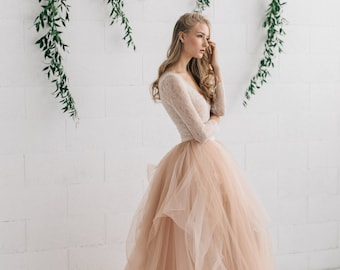 Wedding Dress , Blush Tulle Dress , Two Piece Wedding Dress, Bridal Separates ,Long Sleeve Wedding Dress - MELANIE