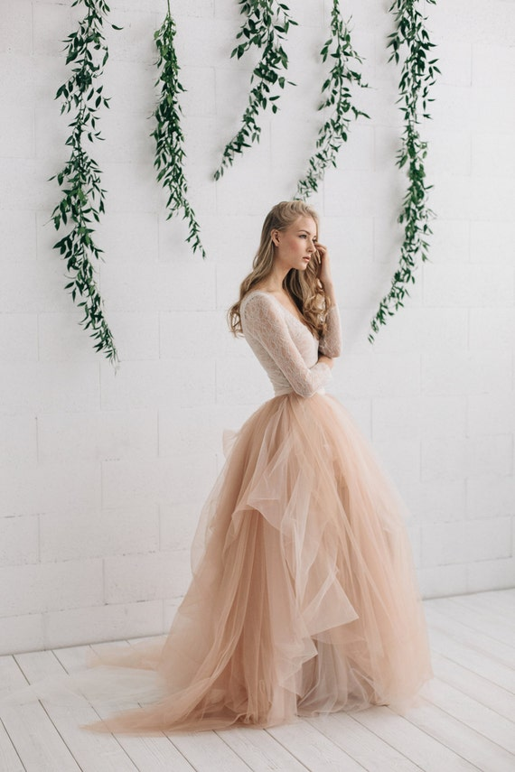 Blush wedding dress bridal separates two piece wedding blush wedding dress bridal separates two piece wedding dress long sleeve wedding dress lace bodysuit bridal tulle skirt melanie junglespirit Image collections