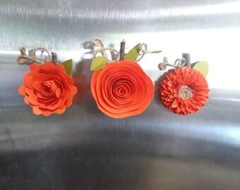 Handmade paper Flower pumpkin magnets, set of 3