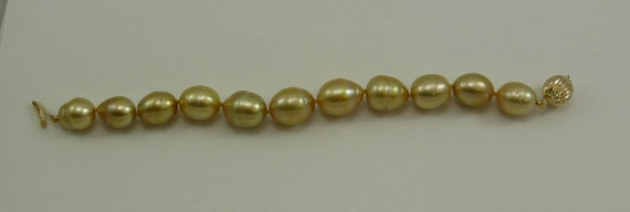 "Golden South Sea Baroque Pearl Bracelet 14K Yellow Gold Clasp, 7 1/4"" Long"