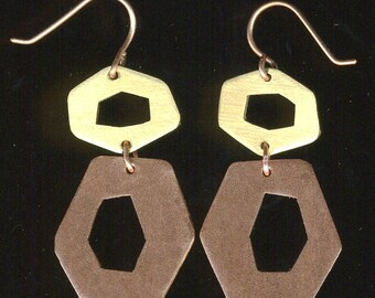 50's Retro shapes copper and brass hexagon dangle earrings