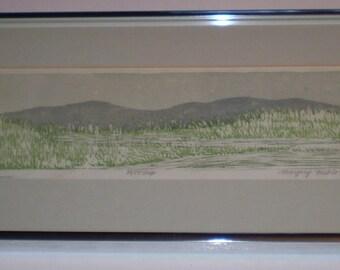 Margery Niblock Framed Print The Marsh LE 38/55 IMP Framed Art by Margery Niblock Woodblock Print