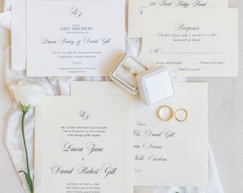 Classic Save the Date | Petite cards | Printable, Traditional Monogram Script Template