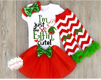 Baby christmas outfit, newborn christmas outfit, baby girl christmas clothes, bow headband, leggings, and tutu optional Z12