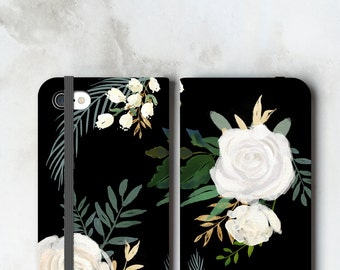 One Floral iPhone 8 Wallet Case Watercolor White Roses on Black, iPhone 7 Plus Womens Wallet, iPhone X Phone Wallet Case 6S