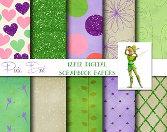 Disney TinkerBell Inspired 12x12 Digital Paper Backgrounds for Digital Scrapbooking, Party Supplies, etc -INSTANT DOWNLOAD -