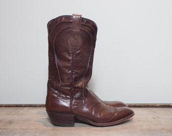 8 D | 1970's Vintage Dan Post Cowboy Boots Spanish Redwood Leather Western Boot