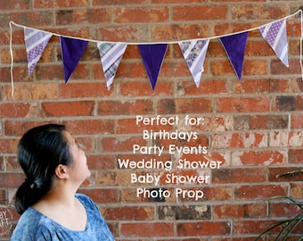 """Handmade Purple Madras ShabbyChic Cute Party Event Easter Fabric Bunting Banner, 5""""x8"""" Penants 4 / 6.5 feet length"""