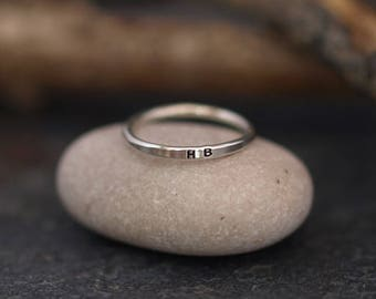 Silver Initial Ring, Stackable Sterling Silver Dainty Band Ring, Personalised Initials Letters, Made in UK Jewellery