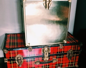 Vintage Brass Trunk / Red Plaid Trunk w/ Brass Hardware / Hollywood Regency Storage Trunks