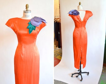 SALE / Vintage 1960s COUTURE silk evening gown