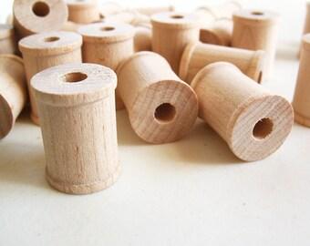"""50 Miniature Wooden Spools  1"""" x 3/4"""" x 1/4"""" hole -Wooden Spools Decorative -Small Spools -Natural Wooden Spools"""