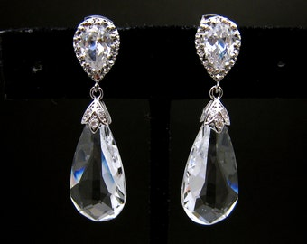 bridal earrings wedding earrings bridal jewelry  teardrop swarovski clear crystal with cubic zirconia earring post