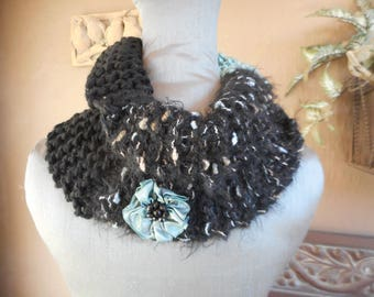 Hand Knit Cowl, Cowl, Black Cowl, Infinity