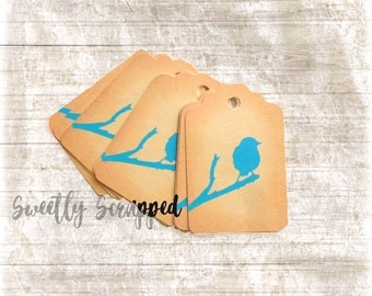 BLUE BIRD Tags ... Silhouette/ Tag / Labels / Nature / Birds / Aqua / Tea / Bird on a branch / Tree / Vintage Look / Embellishment / Crafts