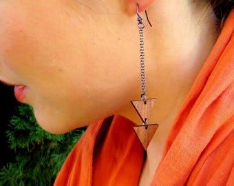 Geometric Earrings, Wood Dangle Earrings, Wood Triangle Earrings, Chandelier Earrings