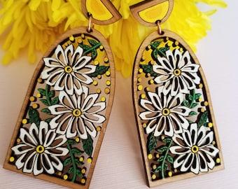 Daisy Statement Earrings, Yellow Statement Earrings