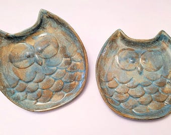 Owl Dish - Owl - Plate - Pottery glaze - Salad Plate - Spoon Rest - Ring Holder