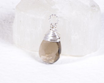 Wire Wrapped Smoky Quartz Briolette Wired Beads Jewelry Making Supply