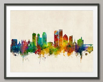Dayton Skyline, Dayton Ohio Cityscape Art Print Poster (4042)