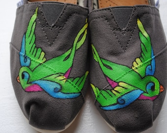Womens Colorful Swallows Custom Hand Painted TOMS Bird Design