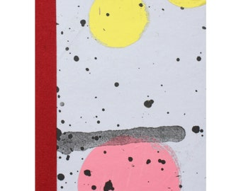 SECONDS SALE!!** Notebook by Fiona Hamilton - One Off, Paint, Pattern, Splash, Splodge, Foil, 48 Pages, Pink, Blue, Silver