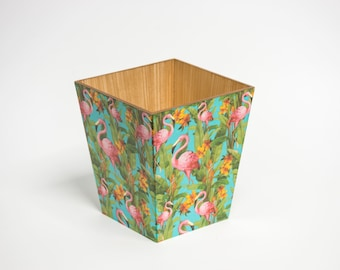 Flamingo Waste Paper Bin Trash Can Handmade Wooden made in UK