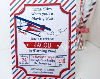 Airplane Birthday Invitation, Airplane Party, Time Flies Invitation, Vintage Airplane Invitation, Aviation, Pilot Wings, Time Flies Invite