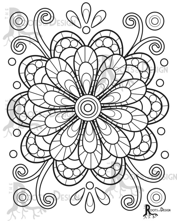 INSTANT DOWNLOAD Coloring Page fun mandala flower or