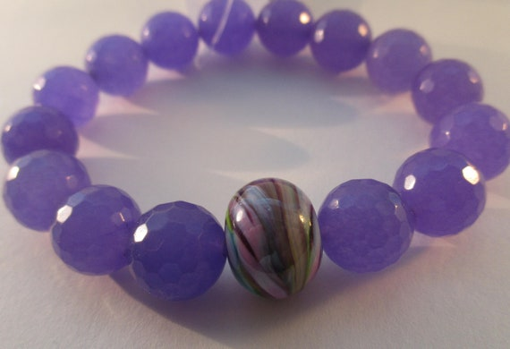 Purple Quartz and Swirl Lampwork Glass Stretch Bracelet B6261712